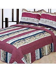 3 peças stripe padrão lavado algodão conjunto quilt