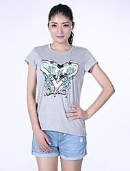 haoduoyi® женщин Калифорния кокосовое дерево и японского журавля печати футболки