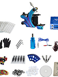 1 Gun Complete No Ink Tattoo Kit with Color Burn Tatoo Machine and Blue Lcd Screen Power Supply