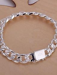 10mm8 polegadas prateado pulseira masculina