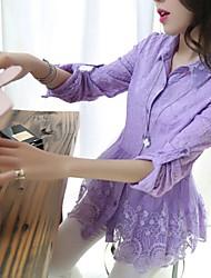 Women's Turndown Lace Mesh Embroidery T-shirt