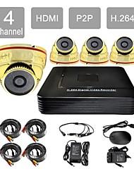 hdmi p2p 4 canaux de 8605cf04v de système de caméra de sécurité kit h.264 dvr 4x1000tvl ir dôme CCTV