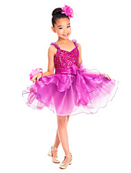 Kids' Dancewear Dresses Children's Training Spandex Ruffles Sequins Sleeveless Natural