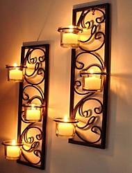 Metallwand Kunst-Wanddekor, römischen Stil Wand-Leuchter-Wand-Dekor-Set aus 2
