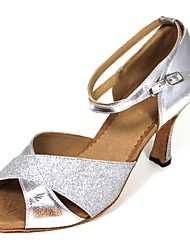 Customizable Women's Dance Shoes Latin Leatherette Customized Heel Silver