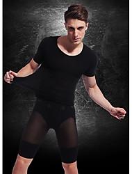 Men Short Sleeve Slimming Underwear Body Shaper Shirt Firm Tummy Belly Bust Nylon Black