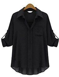 Women's Casual/Daily Simple Spring / Summer / Fall Blouse,Patchwork Long Sleeve White / Black Thin