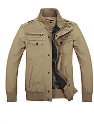 y · col veste décontractée de couleur pure de kaki de kay hommes a80310