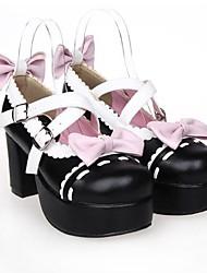 preto de couro pu 8 centímetros de salto alto sapatos lolita doce com linha