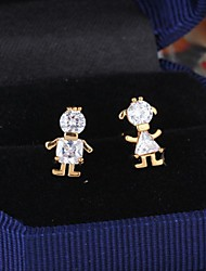 Women's Fashion Boy and Girl  Design 18K Gold Zircon Earrings