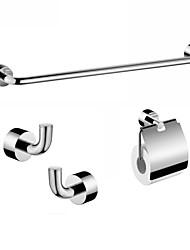 laiton finition chrome 4 pièces accessoires de salle de bains titulaire mettre une serviette en papier de bar et 2 crochets