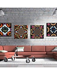 Personalized Canvas Print Stretched Canvas Art Retro Pattern 45x45cm  55x55cm Gallery Wrapped Art Set of 4