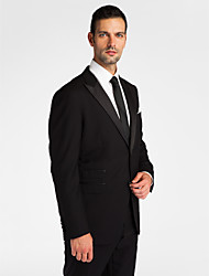 (Premium) Black Wool Tailored Fit Two-Piece Tuxedo