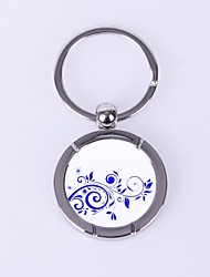 Morning Glory Pattern Metal Silver Keychain Toys