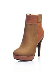 Women's Shoes Round Toe Platform Stiletto Heel Flocking Ankle Boots