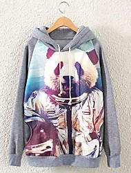 Women's Long Sleeve Astronaut Panda Printed Pullovers hoodies Sweatshirt