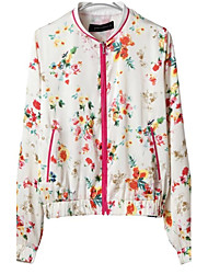 LD Women's New Stand Collar Red Flower Print Pilot Jacket