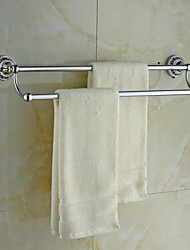 Ceramic Brass Chrome Finish Double Towel Bar