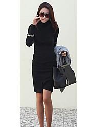 lana de las mujeres PureLove espesar vestido bodycon vaina de manga larga