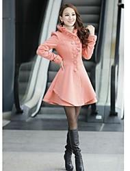 cappotto lungo di colore solido del collo del cappuccio tweed Women 's