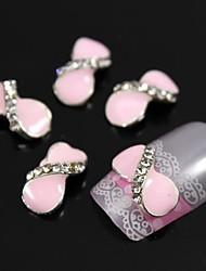 10pcs runden rosa Fliege Strass-Legierung Zubehör Fingerspitzen Nagelkunstdekoration
