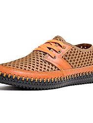 Men's Spring Summer Fall Comfort Novelty Moccasin Leather Office & Career Casual Flat Heel Lace-up Grey Yellow Orange