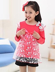 Girl's Fashion And Sweet Lace Bow Long Sleeve T Shirt
