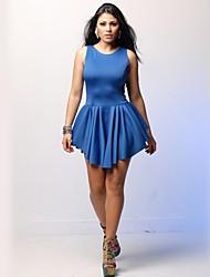 cuello redondo de las mujeres mini vestido, poliéster azul / rojo / blanco / negro sexy / ocasional
