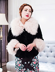 3/4 Sleeve Turndown Lamb Collar And Rabbit Fur Casual/Party Jacket(More Colors)
