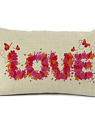 Floral Love Cotton/Linen Decorative Pillow Cover