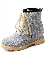женская обувь борьбы плоским пятки деним ботильоны с шнуровке больше цветов