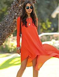Women's Long Sleeve Chiffon Loose Asym Hem Dress
