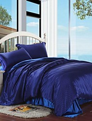 Stripe Faux Silk 4 Piece Duvet Cover Sets