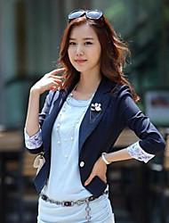 Yiluo coréen de style 3/4 manches veste (bleu foncé)