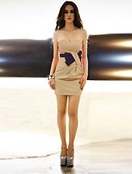 sin mangas sin tirantes sin respaldo arco contraste del color de las mujeres Joannekitten vestido corto