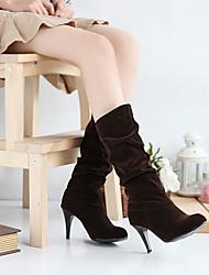 Women's Spring Fall Winter Fashion Boots Suede Dress Stiletto Heel Black Brown