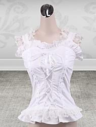 algodão branco sem mangas lolita clássico espartilho