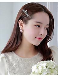 estilo coreano dulce broches corona de cristal