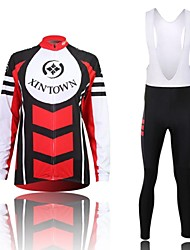 XINTOWN Men's High Quality Contracted Quick Dry Moisture Absorption Long Sleeve Bib Tights Cycling Suit—Red+Blue