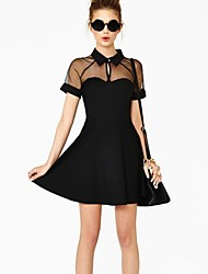 Women's Lapel Neck Chiffon Cut Out Bodycon Dress