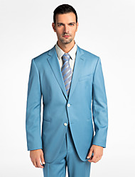 (Premium) Light Blue 100% Wool Tailored Fit Two-Piece uit