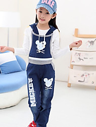 Girl's Round Collar Mouse Print Demin Strap Clothing Sets(T-shirt&Overalls)