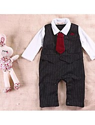 Boy's Turn-down Collar Long Sleeve White Shirts + Black Striped Vest + Bow Tie + Trousers Design Cotton Rompers