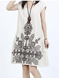 Maternity Casual Loose Ethnic Print A-line Dress