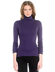 2015 Autumn Winter New Arrival Women Sweater Long Sleeve Turtle Neck Purple Solid Color Thin Basic Sweater