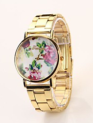 Women's Roman Scale Floral Dial Gold Band Quartz Analog Elegant Fashion Watch C&D43