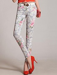Three Beauties ® Women's Fashion Cotton Floral Print Silm Skinny Cropped Pants-Screen Color