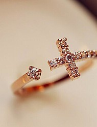 Exquisite Rhinestone Opening Crosses Ring
