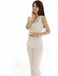 Chiffon Sleeveless Fause Diamond   Decoration Shirt