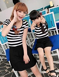 Family's Fashion Leisure Mother Daughter Stripe Dress